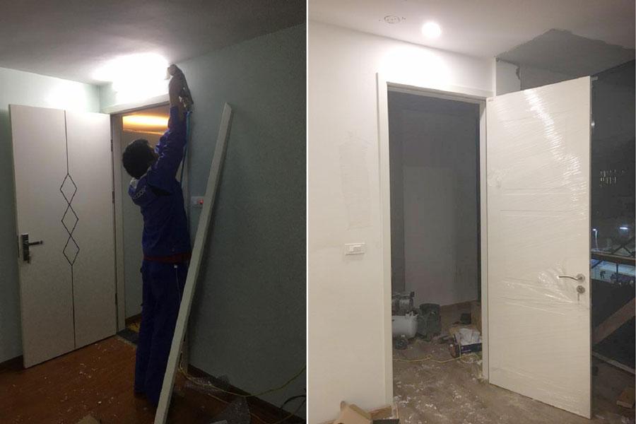 Lắp cửa thông phòng bằng gỗ nhựa Composite cho nhà anh Hưng